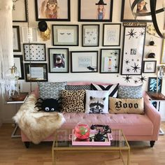 Unforgivable Sins Of Halloween Living Room Decor Home SNS Halloween Living Room, Halloween Bedroom, Pink Halloween, Halloween Inspo, Halloween Party, Pink Couch, Deco Nature, Beauty Room, New Room