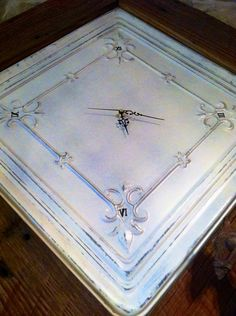 Large Handmade Antique Tin Ceiling Tile Clock With Salvaged Red Barn Wood Frame on Etsy, $120.00