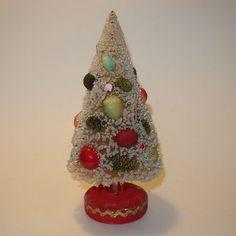 Vintage Japan Bottle Brush Tree White with Fruit decorations Wood Base #MFGunknown