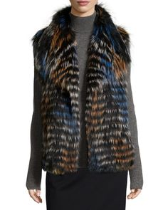 Fox Fur Shawl-Collar Vest, Blue/Orange, Size: X-LARGE - Gorski