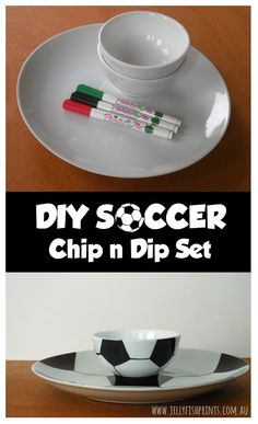 Make a cool soccer chip and dip set for your Soccer themed birthday party. cool black and white soccer ball plate or platter and football dipping bowl Football Party Games, Soccer Party, Soccer Ball, Soccer Birthday Parties, 7th Birthday, Birthday Party Themes, Chip And Dip Sets, Chip And Dip Bowl, Soccer Theme