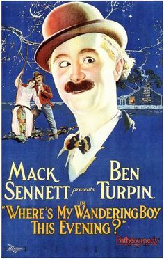 Silent Film Era Mack Sennett present Ben Turpin movie poster Old Film Posters, Cinema Posters, Vintage Posters, Silent Film Stars, Movie Stars, Old Movies, Vintage Movies, Dh Lawrence, Physical Comedy