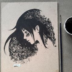 Trying some ink drawing on wood #hachikogo