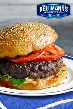 """Simple tip for a juicier burger…mix Hellmann's Mayonnaise right INTO the ground beef before grilling. We like to call this recipe our """"burgervention""""!"""