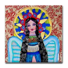 Virgin of Guadalupe Tile - Mexican Folk Art Ceramic Coaster - Frida Kahlo