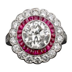 Art Deco Diamond & Ruby Ring | From a unique collection of vintage engagement rings at https://www.1stdibs.com/jewelry/rings/engagement-rings/