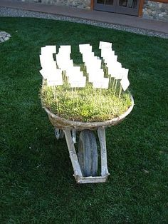 Adorable idea for an outdoor rustic wedding- placecards in a wagon with grass.  DIY wedding