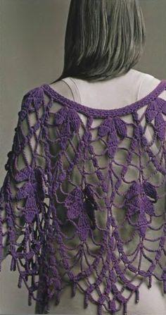 Patrones Crochet: Manton Chal Hojas Malva Patron