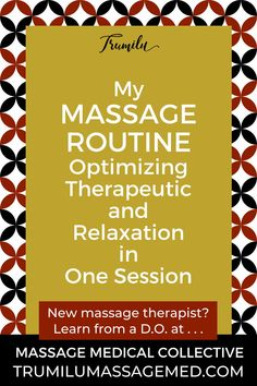 As a new massage student, I wanted to know what more experienced massage therapists did in their massage routines. But, I didn't have the money to get tons of massages. So, I'm sharing mine. Of course, you want to tailor your massage to your client's needs, but many clients truly expect you to take charge and have a general plan you tailor to their needs. Having a basic routine helps you do that. A plan also helps you prepare your client well in the intake and  manage your time. Check it… Massage Tips, Good Massage, Stress Relief, Pain Relief, Massage Therapy Career, Massage Business, Getting A Massage, I Gen, I Want To Know