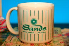 VINTAGE Sands Hotel Casino Las Vegas Mug in White Free Shipping. $15.99, via Etsy.