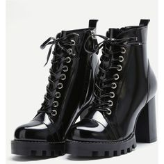 SheIn(sheinside) Black Patent Leather Cap Toe Topstitch High Heel... ($49) ❤ liked on Polyvore featuring shoes, boots, chunky heel knee high boots, knee-high lace-up boots, lace up high heel boots, platform boots and lace up boots