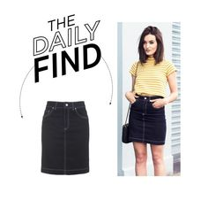 """Daily Find: Topshop Archive Denim Pencil Skirt"" by polyvore-editorial ❤ liked on Polyvore featuring Topshop and DailyFind"