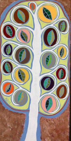 Folk Art Tree of Life Leaves Mexican Original Pastel Painting Fall Ambrosino | eBay