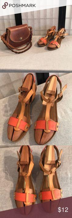 Pierre Dumas brown/orange open toe wedge sandals Pierre Dumas brown/orange open toe wedge sandals (GUC) Pierre Dumas Shoes Sandals