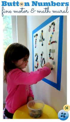 Kindergarten Activities: Button Mural - Number Recognition - No Time For Fl. Teaching Numbers, Numbers Preschool, Math Numbers, Preschool Learning, Early Learning, Preschool Activities, Time Activities, Motor Skills Activities, Fine Motor Skills