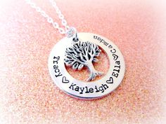 Family Tree Necklace  Personalized Hand by EverythingPrettyShop
