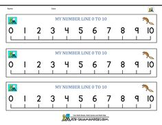 3 printable number lines from 0 to 10