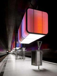 U-Bahnhof by Pfarre Lighting Design Features Interactive Subway Art #neon #architecture trendhunter.com