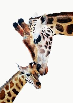 Giraffe Mother and Baby acrylic painting 11.4 x 16.2cm