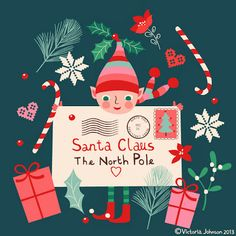 christmas, elf and letter to santa, greeting card design, surface pattern, illustration victoriajohnsondesign.com