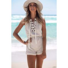 Light Gray Lace Up Sleeveless High Waist Romper ($21) ❤ liked on Polyvore featuring jumpsuits, rompers, high waisted romper, sleeveless rompers, playsuit romper and sleeveless romper