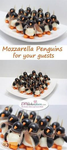 Your guests will be amazed by the penguin finger food from Mozzarella Pinguin-Fingerfood aus Mozzarella – Rezeptideen Fingerfood Party einfache Rezepte – Weihnachten Fingerfood – Silvester Party – Silvesterparty – Weihnachtsparty – Silvester Fingerfood – Snacks Für Party, Appetizers For Party, Appetizer Recipes, Brunch Recipes, Fingerfood Party Ideas, Party Drinks, Dip Recipes, Dinner Recipes, Christmas Finger Foods