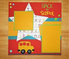 School Scrapbook Page - School Scrapbook Layout - 12 x 12 Scrapbook - Back to School - First Day of School - School Bus - School Days AngelBDesigns4You