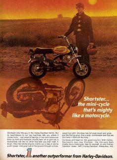 Ad for the Harley Shortster mini-bike.