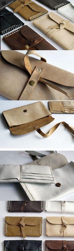 Handmade vintage rustic simple envelope Stitched leather long wallet f   EverHandmade
