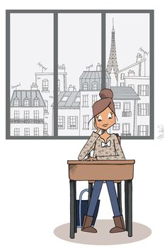 Mad'moiselle C - illustration - Marie BastilleMarie Bastille Illustration Parisienne, Paris Illustration, Graphic Design Illustration, Cute Drawings Of People, Drawing People, Bastille, Character Art, Character Design, Drawing Sketches