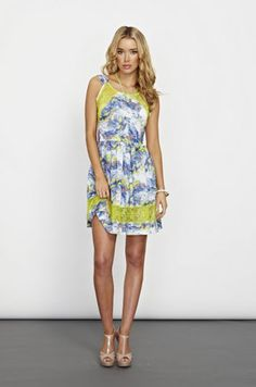 New Cooper St Atomic Dress!  Neon lace details on marble print.