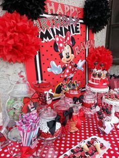 Custom made Minnie Mouse Candy and Dessert Buffet www.CandyVixen.com