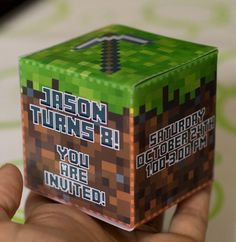 Minecraft Birthday Party Invitation 3D Cube Print by TuKitDesign