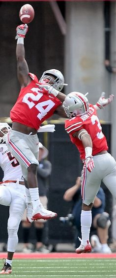Ohio State Buckeyes safety Malik Hooker (24) leaps to intercept a pass intended for Bowling Green Falcons wide receiver