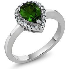 254 Ct Pear Shape Green Nano Emerald 925 Sterling Silver Ring *** For more information, visit image link.Note:It is affiliate link to Amazon.