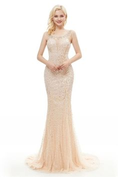 02cbfd2b7cea Gorgeous Scoop Sheer Back Crystal Beaded Champagne Lace Tulle Mermaid Maxi  Prom Evening Dress