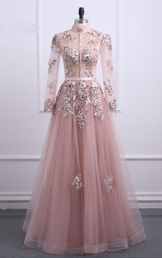 party long-sleeved dress Appliques veils turtleneck formal party dress, Shop plus-sized prom dresses for curvy figures and plus-size party dresses. Ball gowns for prom in plus sizes and short plus-sized prom dresses for Pink Formal Dresses, Gold Prom Dresses, Prom Dresses Long With Sleeves, Prom Dresses For Sale, Dress Formal, Pink Dress, Lace Dress, Pink Tulle, Popular Dresses