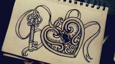 Locket! #lovelocket #key #lovedrawing #tattooidea #ribbon #drawing