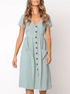 d6042a4c56 Casual Soid Buttoned Pocket Dress Women s Dresses
