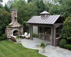 Outdoor kitchen with metal roof. Blue stone patio and huge exterior fireplace. Outdoor kitchen with Outdoor Kitchen Design, Patio Design, Backyard Kitchen, Kitchen Decor, Nice Kitchen, Out Door Kitchen Ideas, Simple Outdoor Kitchen, Garden Design, Awesome Kitchen