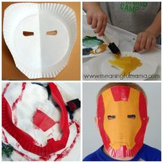 Iron Man Paper Plate Mask Tutorial and Template : paper plate mask craft - pezcame.com