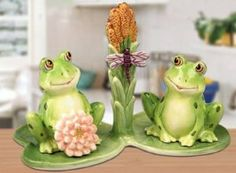 Garden Frog Salt & Pepper Shakers Set With Base Ceramic by Popular Creations. $23.99. Garden Frog Salt & Pepper Shakers Set With Base Ceramic. Measure 7.5L x 4W x 5.5H. Made of Ceramic and come mint in the box.