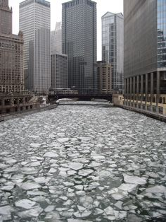 Chicago River in winter. Photo by Eastlake Victorian.