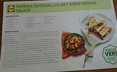 Paprika quesadillas met kidneybonen salade