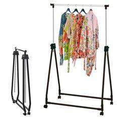 Adjustable Collapsible Clothes Coat Garment Hanging Rail Rack Storage on Wheels | eBay