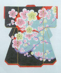 LEE *New* Cherry Blossoms Oriental LG. Kimono handpainted HP Needlepoint Canvas