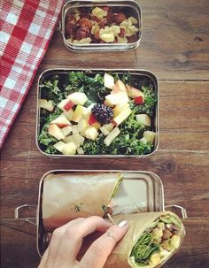 Healthy lunches for school or work. Lunchwrap, salad and snack packed into our ECOlunchbox Three-in-One and trailmix in the ECOlunchpod.