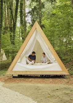 Prefab A-frame wooden cabins are made for eco-friendly glamping Camping has r… Zelt Camping, Camping Glamping, Camping Store, A Frame Cabin, A Frame House, Cabin Tent, Eco Cabin, Wooden Cabins, Cabins In The Woods