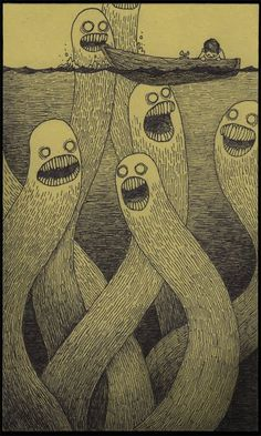 john kenn. monster drawings on post-it notes.