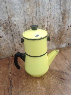 Vintage French Yellow Enamel Tea/Coffee Pot by VintagePurplePig